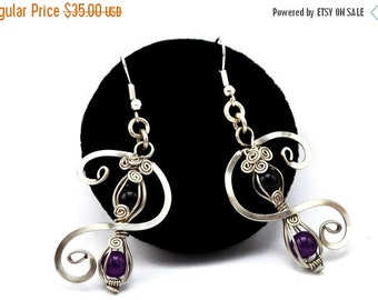ON SALE Black Purple Earrings, Dangle Earrings, Silver Earrings,  Wire Wrap Earrings, Bridesmaid Earrings, Elegant Earrings, Bohemian Earrin