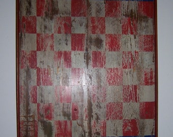 Primitive Rustic Checkerboard - Framed - Handmade/Hand Painted - Red/White/Blue