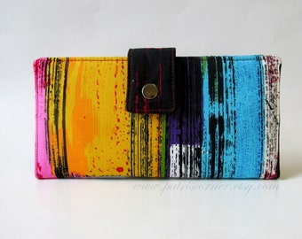 Handmade wallet women clutch - bright modern lines - bold colors - ID clear pocket - Ready to ship - gifts for her - vegan purse