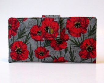 Handmade women wallet  - deep red poppy on grey - ID clear pocket - ready to ship - gift ideas for her - red floral - lightweight organizer