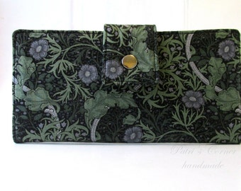 Women wallet - grey and green floral classic look - handmade purse - ready to ship - gift ideas for her