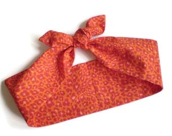 Orange Leopard Head Scarf, Orange Pink Red Leopard Head Wrap, Leopard Head Scarves, Orange Cheetah Head Scarf