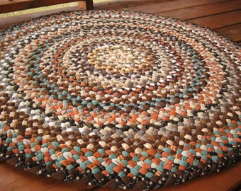 Ready To Ship Handmade Round Hand Braided Recycled Rug / Carpet / Rag Rug in shades of brown / blacks / tans for nursery, bathroom, kitchen