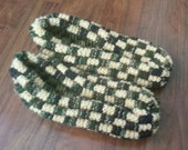 Custom Order Hand Knitted  Checkerboard Slippers