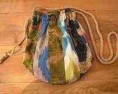 silk drawstring bag, multicolored