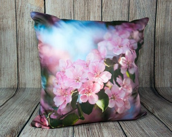 Pink Throw Pillow Cover for Chair, Spring Blossom Toss Cushion Case For Sofa, Handmade Cottage Chic Accent, Decorative Blue Botanical Art