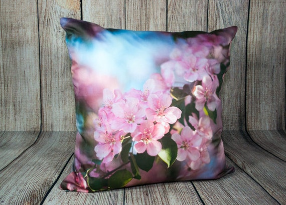 Pink Throw Pillow Cover for Chair Spring Blossom Toss Cushion