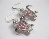 Sea Turtle Earrings - Sea Turtle Seaglass Earrings Honu Glass Jewelry, Handmade Custom Jewelry