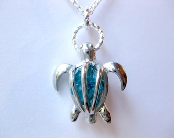 Birthstone crystal sea turtle necklace honu jewelry turtle jewelry