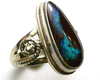 Boulder Opal Ring Size 6.25 Sterling Silver Australian Australia One of a Kind Handmade Lisajoy Sachs Design October Birthstone Birthday