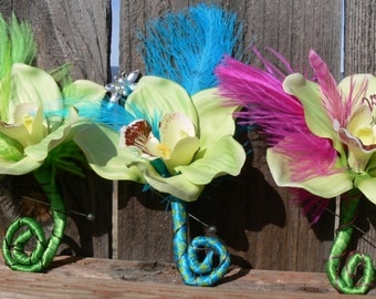 Boutonniere, Corsage, Orchid, Mother's Day, Father's Day, Choice of Color, Lime, Teal, Fuchsia, Prom, Wedding - Ready to Ship