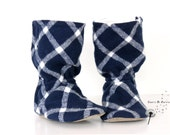 Baby Boots Baby Boy Boots Slippers Shoes - Genuine Leather Soft Soles - Blue Plaid Tartan