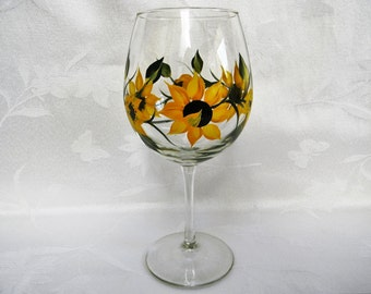 wine glasses, hand painted wine glasses, wine glasses with sunflowers, sunflowers