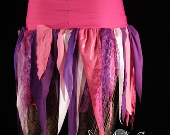 Pixie tattered point skirt lace gothic costume shabby chic fairy gypsy playa boho belly dance purple pink -Ready to ship- XSmall - Enchanted