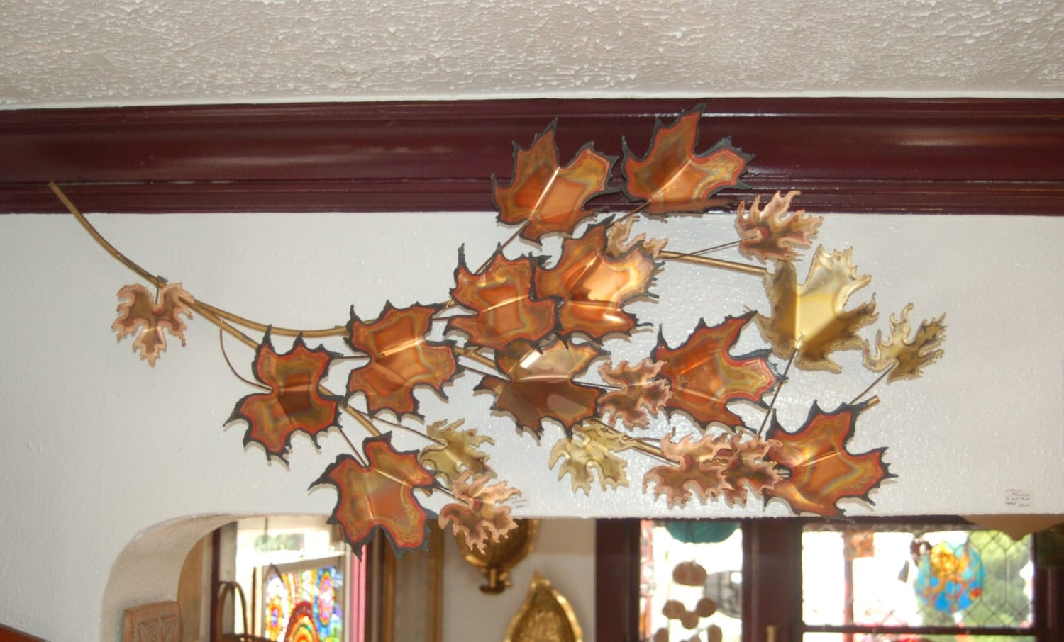 Curtis Jere 50 Inch Maple Leaf Branch Wall Sculpture Signed