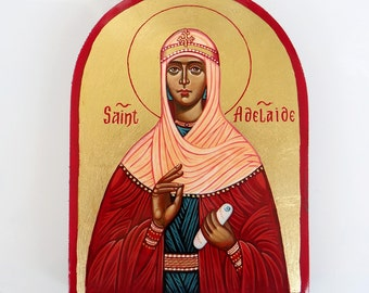 Saint Adelaide - handpainted icon, 8 by 6 nches