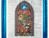 vintage dictionary art ink print 7.75x10.75 inches wind waker link zelda stained glass link with hookshot swinging dictionary paper