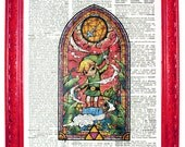 vintage dictionary art ink print 7.75x10.75 inches wind waker link zelda stained glass link with wand dictionary paper