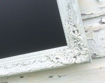 "RUSTIC WEDDING CHALKBOARD 40""x28"" Antique Vintage White Framed Magnetic Chalkboard Rustic Wedding Chalk board Blackboard"