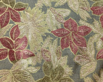Chenille Fabric - Leaf Pattern Cotton Blend Designer Fabric - Rust, Brown, Beige Leaf Fabric - Fabric By the Yard