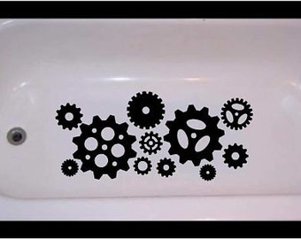 Non-skid Steampunk vinyl decal for bathtub, shower gears cogs