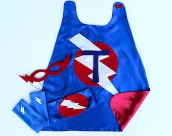 Childrens Red - white - blue - SUPERHERO COSTUME Cape Set - Includes PERSONALIZED superhero cape plus 3 accessories - fast delivery