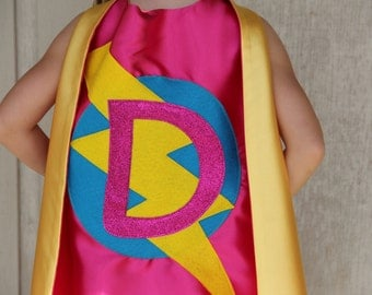 Customized Sparkle SUPERHERO CAPE - Custom Initial Hero Cape - You choose the colors - Kids Costume - Ships Fast - Superhero Party