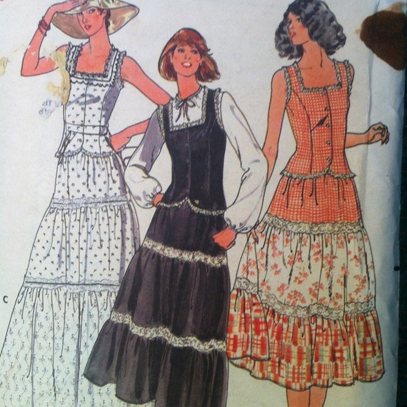 butterick 6053 vintage 1970 s three tiered ruffle maxi