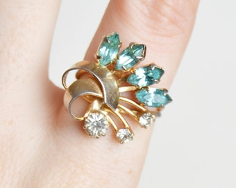 Vintage 40s 50s RETRO Blue Navette Rhinestone Fan RING