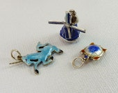 Trio of Vintage Enamel Sterling Silver Charms Unicorn Turtle Windmill