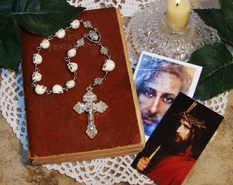 "Unbreakable Historical Replica ""Memento Mori"" One-Decade Catholic Rosary - Skull Bead Rosary - Heirloom Pocket Rosary"
