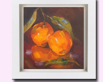 Original Still life oil painting, Tango Tangerines palette knife oil painting, kitchen art, 6x6 inch small format art, citrus reflections