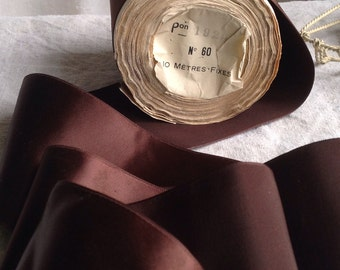 Vintage Tape Brown Ribbon, French Millinery Dolls & Bears / Antique Haberdashery. Old Paris Period Costume, Ribbons Bows High Fashion NOS