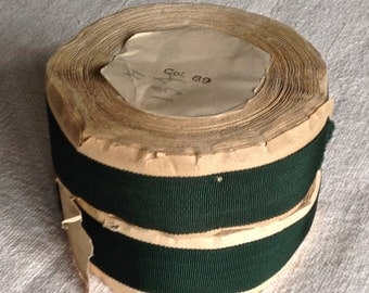 Vintage Grosgrain Tape Roll. French Millinery 10m Trim Ribbon, Green Tape / One Piece Upholstery Supplies