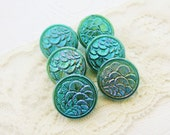 Vintage Art Deco Aqua Luster Iridescent Pressed Glass Czech Buttons 18mm -6