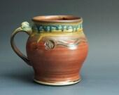 Pottery beer mug,  ceramic mug, extra large stoneware stein, iron red 24 oz 3357