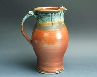 Handcrafted pottery pitcher, stoneware vase 1.5 qt. 3429
