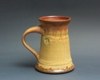 Handmade pottery coffee mug tea cup 12 oz, cream and rust tea cup 3461