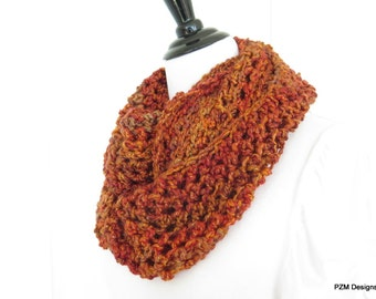 Chunky orange circle scarf, crochet neck warmer infinity scarf, chunky cowl, gift under 40