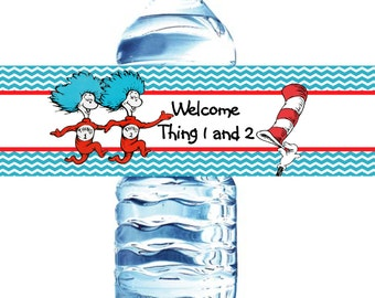Thing 1 and Thing 2-Bottle Label-20-Printed On Waterproof Labels-birthday , baby shower Dr. Seuss labels waterproof  Cat in the Hat