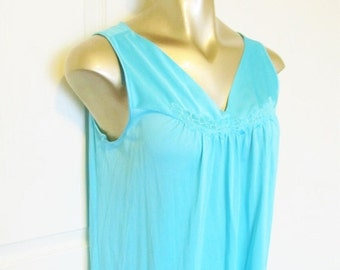 40% OFF SALE Vintage 1960's Turquoise Nightgown / Summertime Sleeveless Negligee Nightie 1960's Peignoir Lingerie Gown Vanity Fair