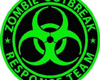 Zombie outbreak response team digital embroidery round design, Zombie outbreak response team digitized embroidery design