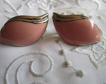 Vintage Silver Tone and Pink Winged Style Pierced Earrings