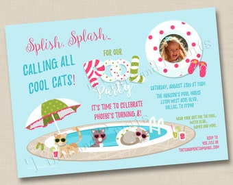 Cool Cats Pool Party Custom Birthday Party Photo Invitation Design - any age