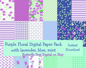Floral Digital Scrapbook Paper, Purple, Mint, Blue, 18 Printable Papers, Scrapbooking, Card Making, Instant Download