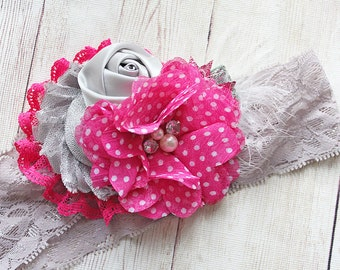 Anniston- silver grey and bright pink metallic chiffon and rosette headband