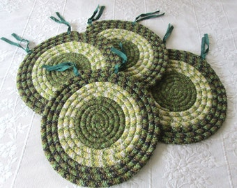 Vintage Braided Chair Pads, Set of Four, Green, Primitive