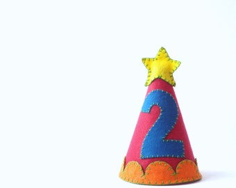 Red Birthday Party Hat--Custom Made