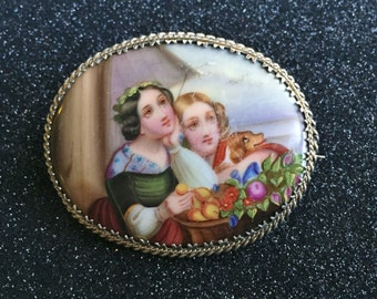 Victorian Brooch Hand Painted Porcelain - HUGE