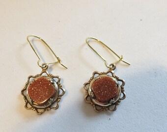 Victorian Goldstone Earrings